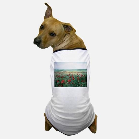 poppy poppies art Dog T-Shirt