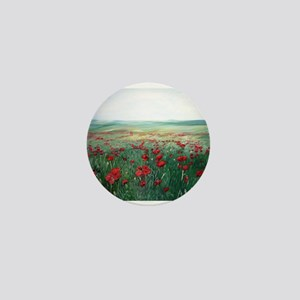 poppy poppies art Mini Button