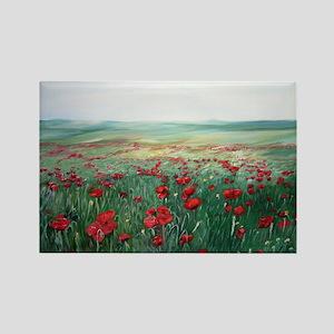 poppy poppies art Rectangle Magnet