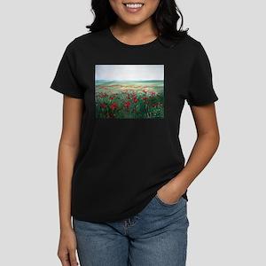 poppy poppies art Women's Dark T-Shirt