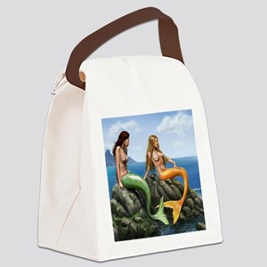 pensive mermaids on rocks covered Canvas Lunch Bag
