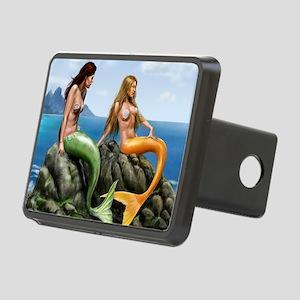 pensive mermaids on rocks  Rectangular Hitch Cover