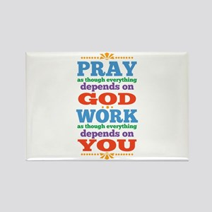God Pray and Depend Rectangle Magnet