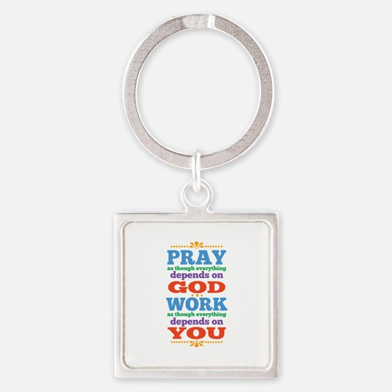 God Pray and Depend Square Keychain