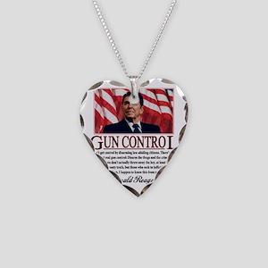ronald reagan guncontrol Necklace Heart Charm