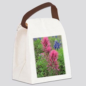 Indian Pinks and Bluebonnets Canvas Lunch Bag