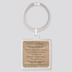 feb11_ten_commandments Square Keychain