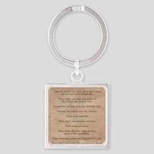 feb11_ten_commandments Square Keychain