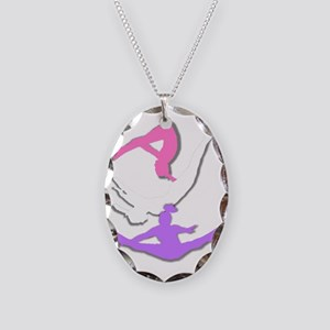 trampolinist collage 2 Necklace Oval Charm