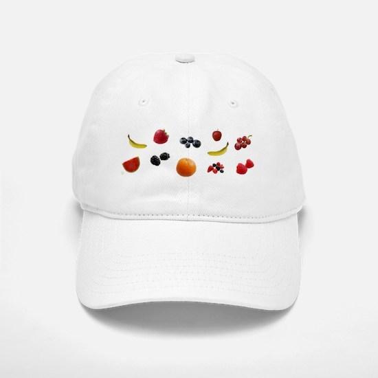 Design - EAT FRUITS with logo- 8x3in Baseball Baseball Cap