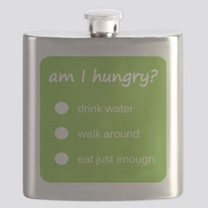 Design - HUNGER CHECK thick text - 10x10in Flask
