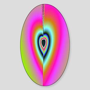 Broken-Heart-Fractal-iPad 2 case Sticker (Oval)