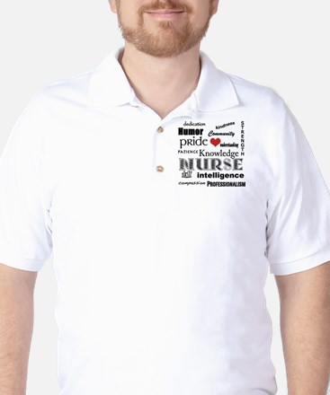 Nurse Pride black with red heart_edited Golf Shirt