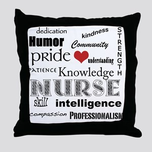 Nurse Pride black with red heart_edit Throw Pillow