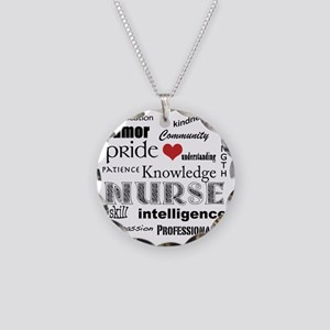 Nurse Pride black with red h Necklace Circle Charm