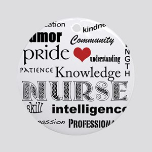 Nurse Pride black with red heart_ed Round Ornament