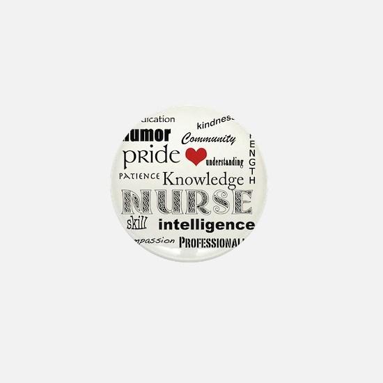 Nurse Pride black with red heart_edite Mini Button