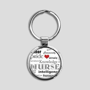 Nurse Pride black with red heart_ed Round Keychain