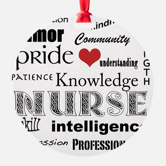 Nurse Pride black with red heart_ed Ornament