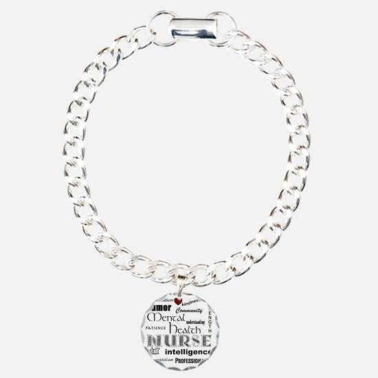 Mental Health Nurse Blac Charm Bracelet, One Charm