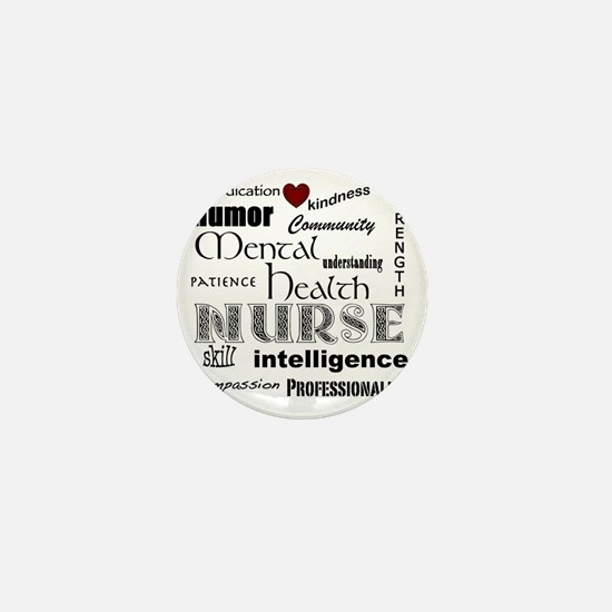Mental Health Nurse Black-red heart Mini Button