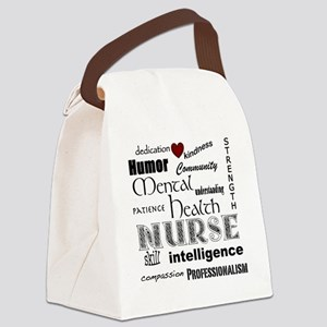 Mental Health Nurse Black-red hea Canvas Lunch Bag