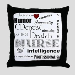 Mental Health Nurse Black-red heart Throw Pillow