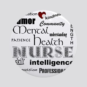 Mental Health Nurse Black-red heart Round Ornament