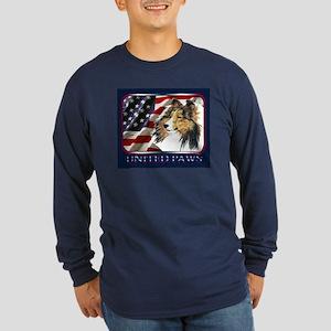 Shetland Sheepdog US Flag Long Sleeve Dark T-Shirt
