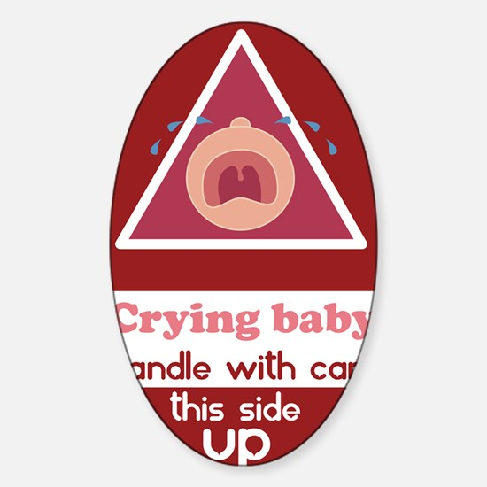 crying baby GIRL Sticker (Oval)