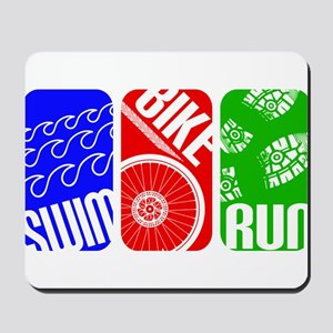 Triathlon TRI Swim Bike Run Rectangles Mousepad