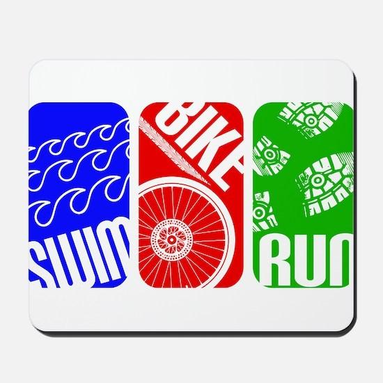 Triathlon TRI Swim Bike Run Rectangles Mousepad