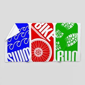 Triathlon TRI Swim Bike Run Rectangles Beach Towel