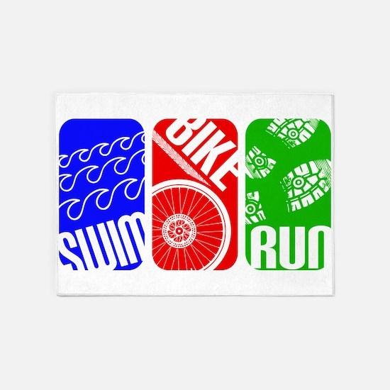Triathlon TRI Swim Bike Run Rectangles 5'x7'Area R