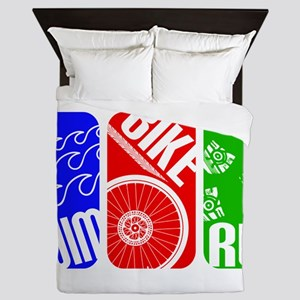 Triathlon TRI Swim Bike Run Rectangles Queen Duvet