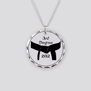 Martial Arts 3rd Degree Blac Necklace Circle Charm