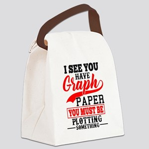 Graph Paper Plotting Something Pu Canvas Lunch Bag