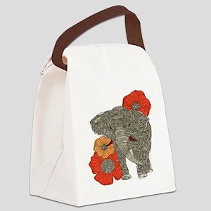 Jewel Elephant Canvas Lunch Bag
