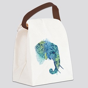 Blue Elephant Canvas Lunch Bag