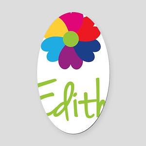 Edith-Heart-Flower Oval Car Magnet
