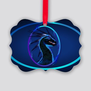Wall Peel Horned Black Dragon Ova Picture Ornament