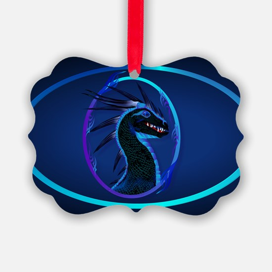 Wall Peel Horned Black Dragon Ova Ornament