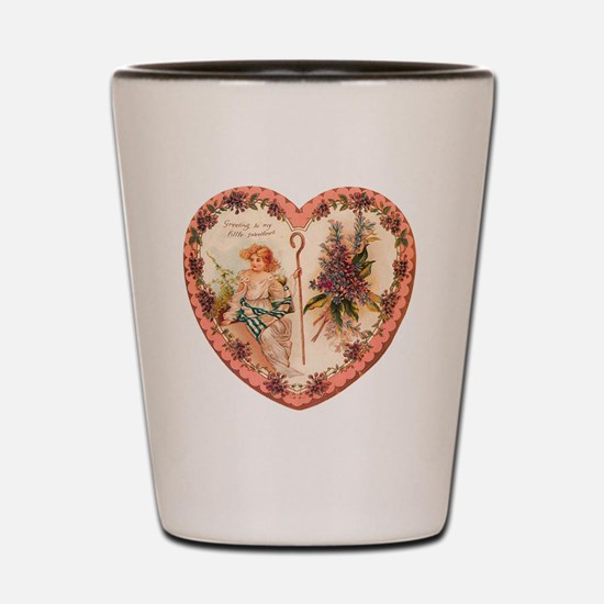 Cupids Greetings To My Little Sweethear Shot Glass