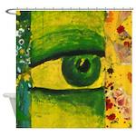 The Eye - Gold & Emerald Awareness Shower Curtain