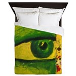The Eye - Gold & Emerald Awareness Queen Duvet