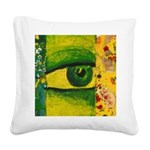 The Eye - Gold & Emerald Square Canvas Pillow