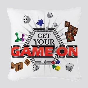 Get Your Game On - Black Woven Throw Pillow