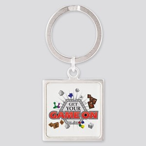 Get Your Game On - Black Square Keychain