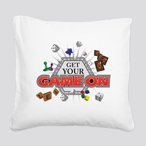 Get Your Game On - Black Square Canvas Pillow