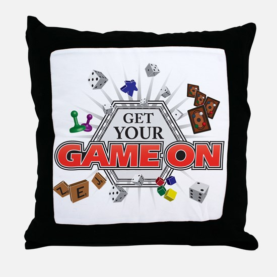 Get Your Game On - Black Throw Pillow
